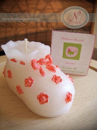 Candle favor for christening